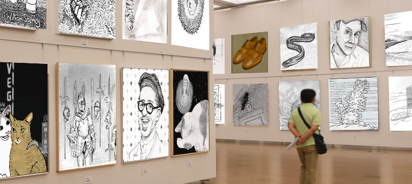 Instagram posts displayed in an art gallery